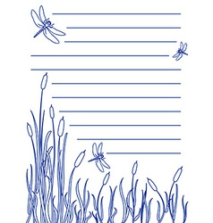 Dragonfly notepad vector image