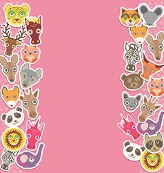 Funny Animals card template pink background vector image vector image