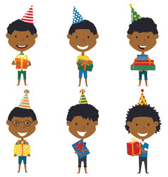 happy cute african-american boys carrying vector image