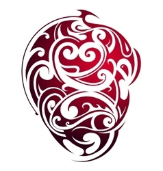 Maori style heart shape tattoo vector