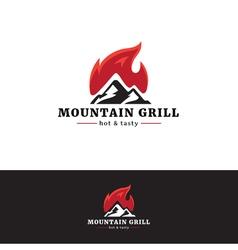 Mountain grill restaurant logo Minimalistic vector image
