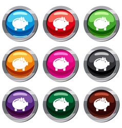piggy bank set 9 collection vector image