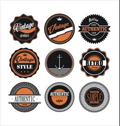 vintage labels black and orange set 1 vector image vector image