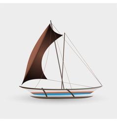 catamaran boat with big sail colorful graphics vector image vector image