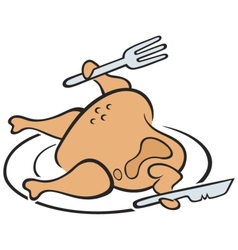 chicken on plate vector image vector image
