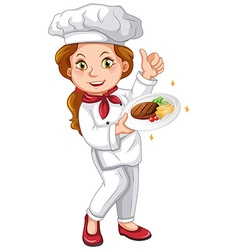 Female chef holding signature dish vector image vector image