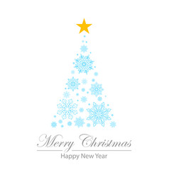 fir star flakes happy new year merry christmas vector image