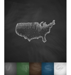 map of USA icon Hand drawn vector image
