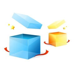 open goft boxes blue and yellow vector image vector image