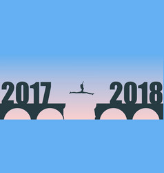 a woman jump between 2017 and 2018 years vector image