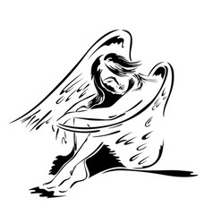 beautiful woman angel in sitting posture vector image vector image