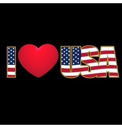 Caption I Love USA flag stylized color and purple vector image vector image