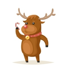 Deer Character Christmas New Year Isolated Icon vector image vector image