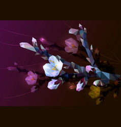 flowering branch of almond with pink flowers from vector image