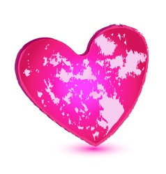 Pink grunge heart logo vector image
