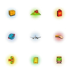 Shipping icons set pop-art style vector image vector image