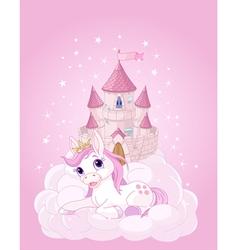 Sky Castle and Unicorn vector image