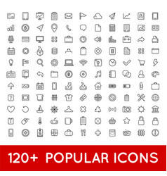 120 popular icons set for all purposes web mobile vector image