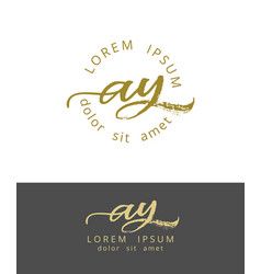 a y initials monogram logo design dry brush vector image