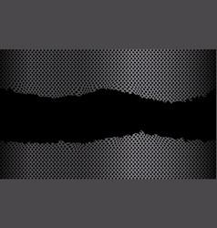 Abstract grey metallic torn circle mesh in black vector