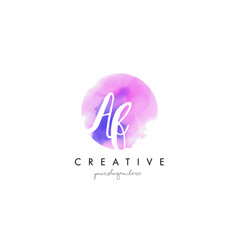 Af watercolor letter logo design with purple vector
