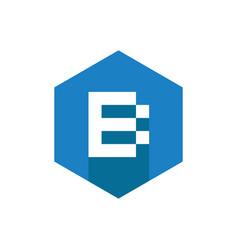 alphabet b logo icon with long shadow flat design vector image
