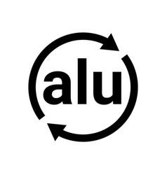 Aluminium recycling code icon alu logo sign vector