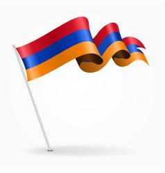Armenian pin wavy flag vector