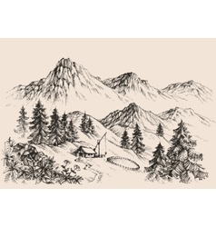 Artistic sketch of mountain ranges vector