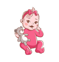 bagirl cute infant with toy smiling vector image