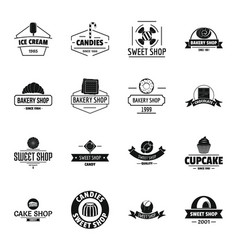 Bakery sweets logo icons set simple style vector
