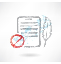 Ban feather and doc grunge icon vector image