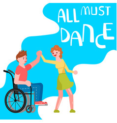 Banner happy disabled people dancing vector