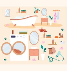 bathroom elements set vector image