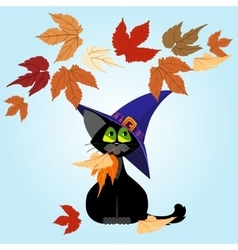 Black cat in a lilac hat Autumn leaves vector