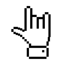 black outline pixelated hand with rock symbol vector image