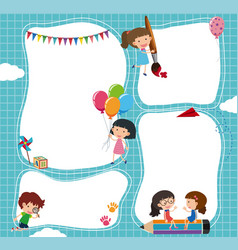 border template with kids in the sky vector image