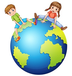 Boy and girl sitting on the big world vector