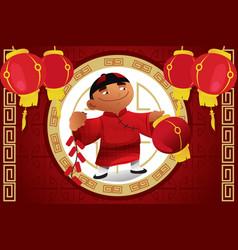 boy holding lantern celebrating chinese new year vector image