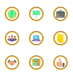 Business team icons set cartoon style vector