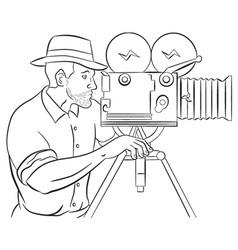 Cameraman with vintage camera vector