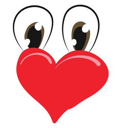 Cartoon funny red heart with two-oval shaped vector