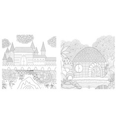 Castle and hut vector
