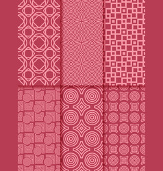 Collection of red seamless patterns vector