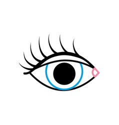 Color line vision eye with eyelashes style design vector