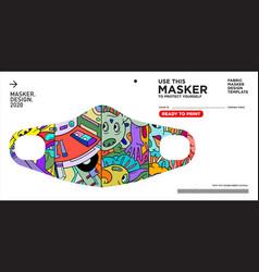 Colorful doodle pattern masker design to protect vector