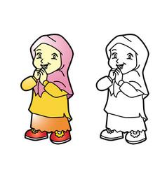 coloring melayu muslim girl - vector image