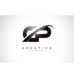 Cp c p swoosh letter logo design with modern vector