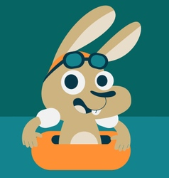 Cute Bunny Playing in the Pool vector image