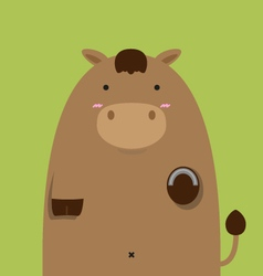cute fat big brown horse vector image